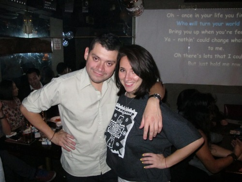 Me and Fernando after the show. Settling our differences the Taiwanese way, in a Karaoke bar.